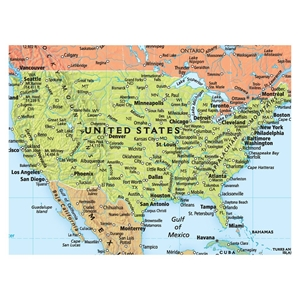"Picture of Rand McNally World Wall Map - (World Map) - Blue Ocean Style - Size 50"" x 32"""