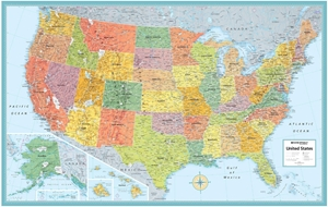 Rand McNally USA Wall Map - (United States Map) - Blue Ocean Style - Size  50\
