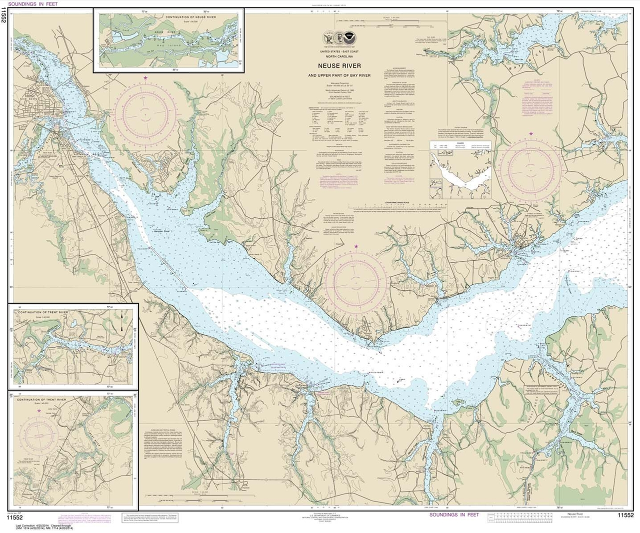 Themapstore Noaa Chart 11552 Neuse River Bay River