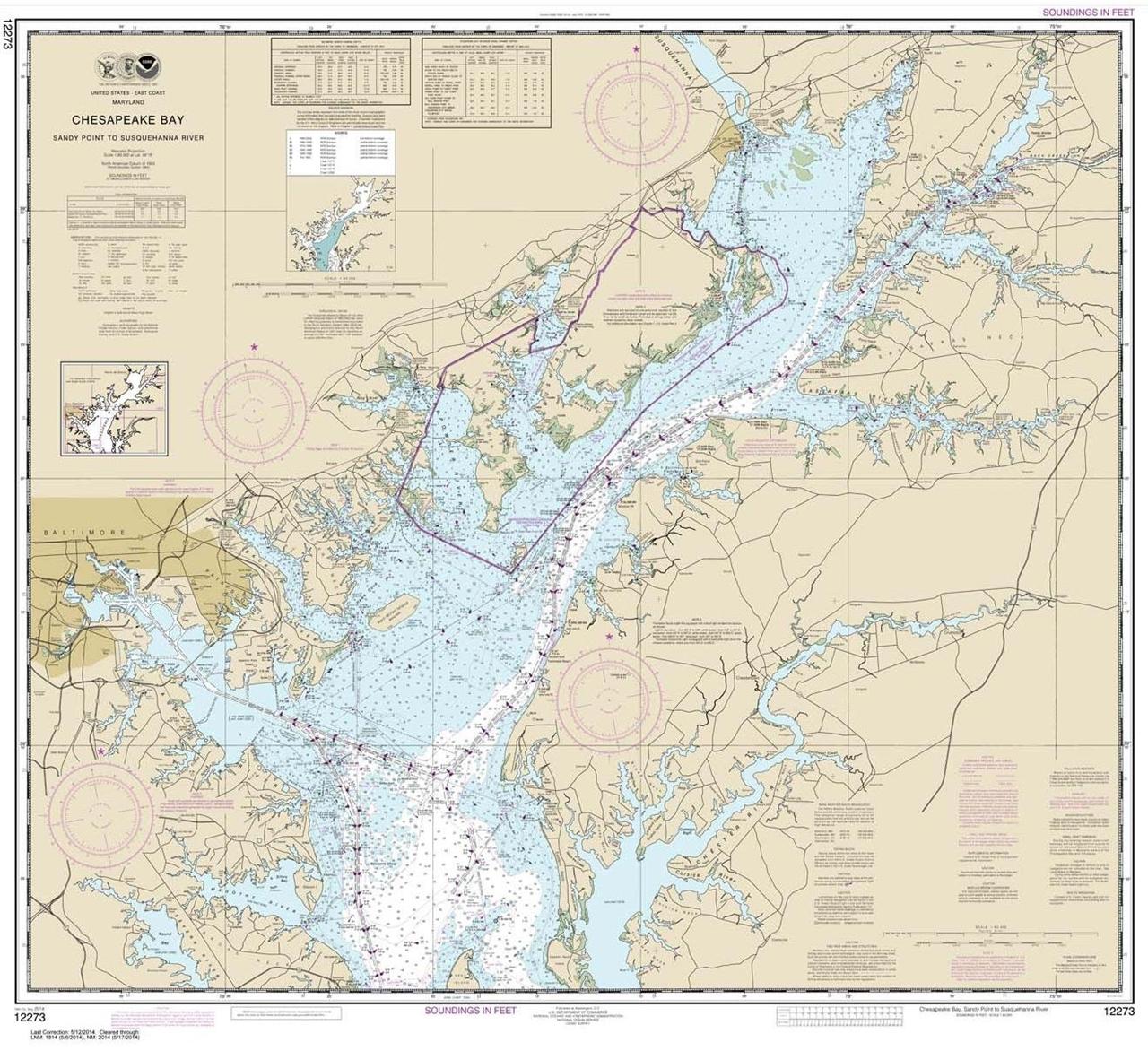 Themapstore Noaa Chart 12273 Chesapeake Bay Delaware