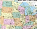 "Picture of North Central United States Highway Wall Map - SIZE 48"" x 38"""