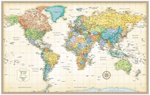 "Picture of Rand McNally World Wall Map - (World Map) - Antique Style - Size 50"" x 32"""