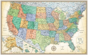 "Picture of Rand McNally USA Wall Map - (United States Map) - Antique Style - Size 50"" x 32"""