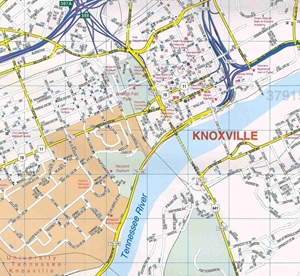 Picture of Knoxville, TN street map