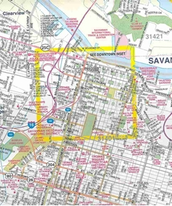 Picture of Savannah, Georgia, Hilton Head Island, South Carolina Folded Street Map