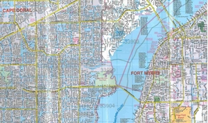 TheMapStore Cape Coral Fort Myers FL Laminated street map