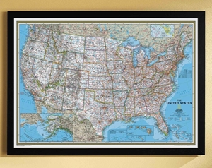TheMapStore | National Geographic USA Wall Map- Blue Ocean