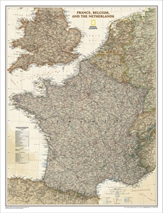 Picture of National Geographic France, Belgium, and The Netherlands Executive Wall Map