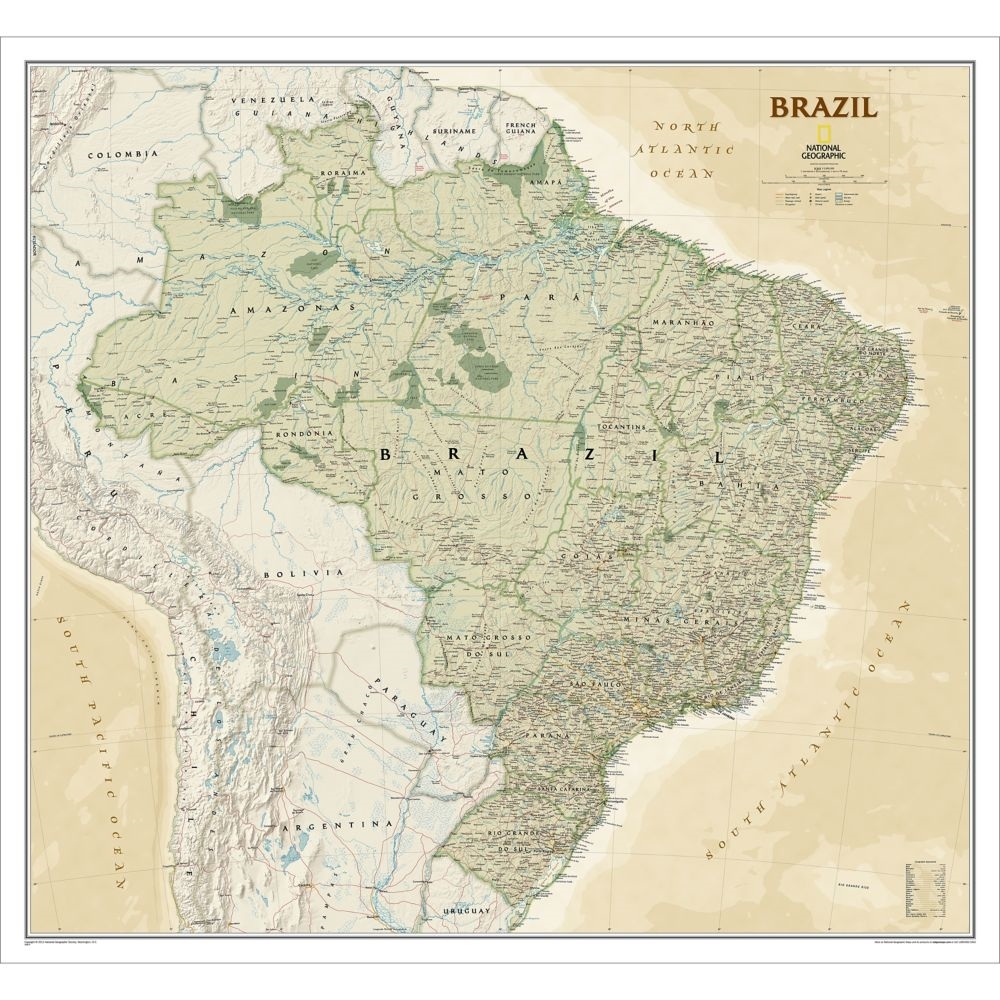 Themapstore National Geographic Brazil Executive Wall Map