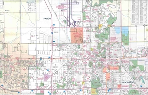 Picture of Fargo, North Dakota, Moorhead, Minnesota Folded City Street Map