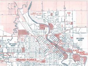 Picture of Grand Forks, North Dakota, East Grand Forks, Minnesota Folded City Street Map