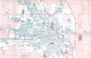 Picture of Muncie & Delaware County, IN Folded City Street Map