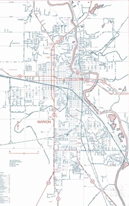 Picture of Marion, Logansport, Peru, Wabash, Huntington, IN Folded City Street Map