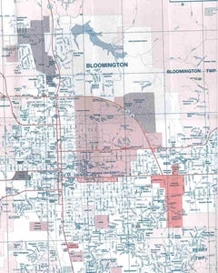Picture of Bloomington & Monroe County, IN Folded City Street Map