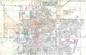 Picture of Bloomington, Normal, Illinois Folded Street Map