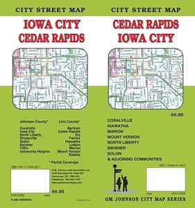 Picture of Cedar Rapids, Iowa City, Iowa Folded City Street Map
